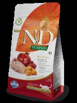 N&D CAT - PUMPKIN QUAIL&POMEGRANATE ADULT Neutered – пълноценна храна с тиква за кастрирани котки над 1 година, с пъдпъдък и нар - 1.5 кг.