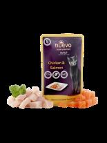 Nuevo Super Premium Cat - Chicken & Salmon - Супер премиум пауч за котки над 1 година с пилешко месо и сьомга - 85 гр.