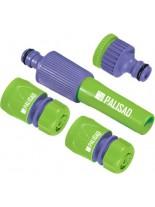 PALISAD - Комплект за свързване на маркуч 1/2 - Пластмасов струйник + адаптер 1/2-3/4 + съединения 2 бр.
